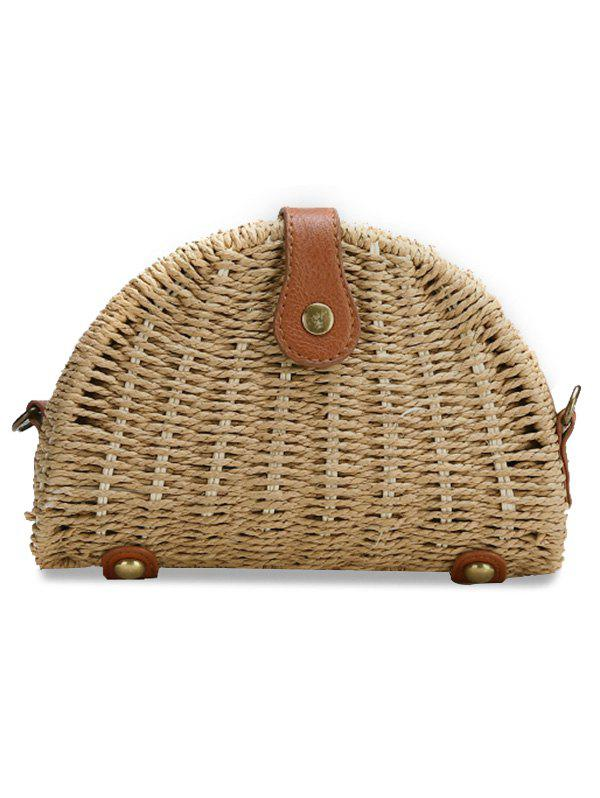 Shop Retro Straw Fan Shaped PU Hasp Beach Bag