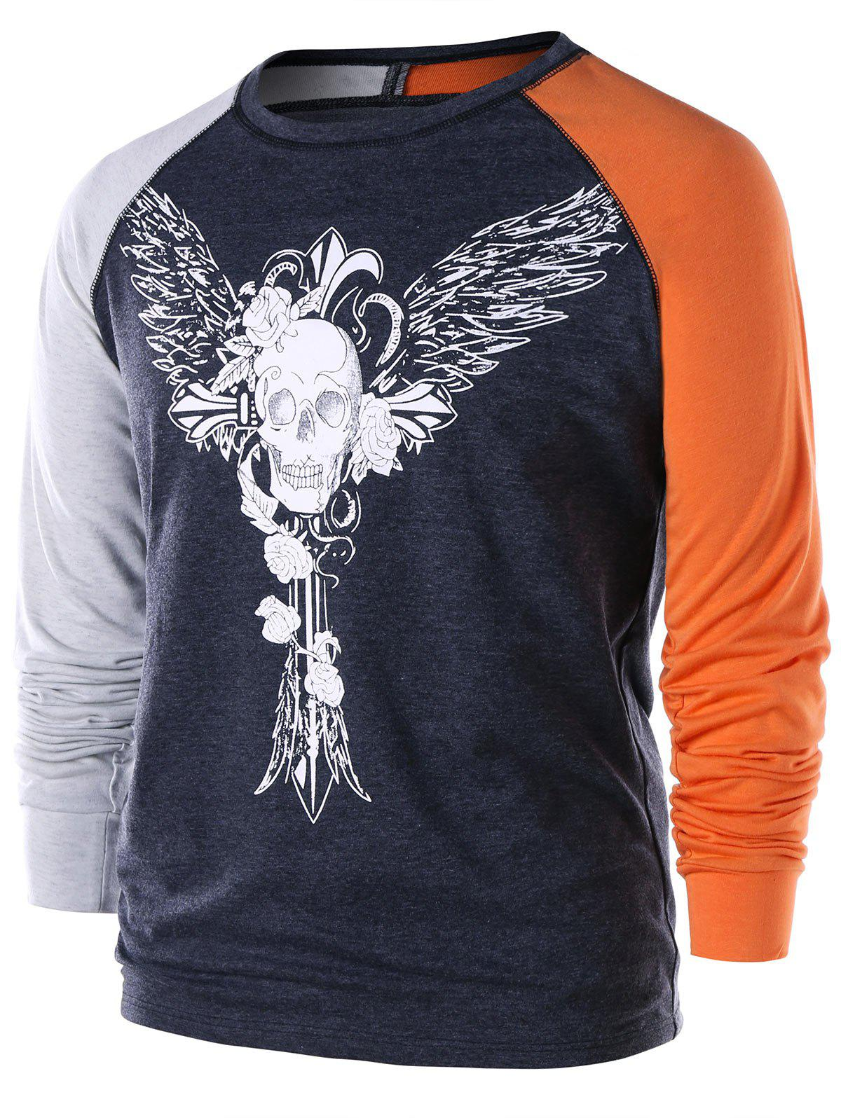Outfit Skull Wings Print Long Sleeve T-shirt