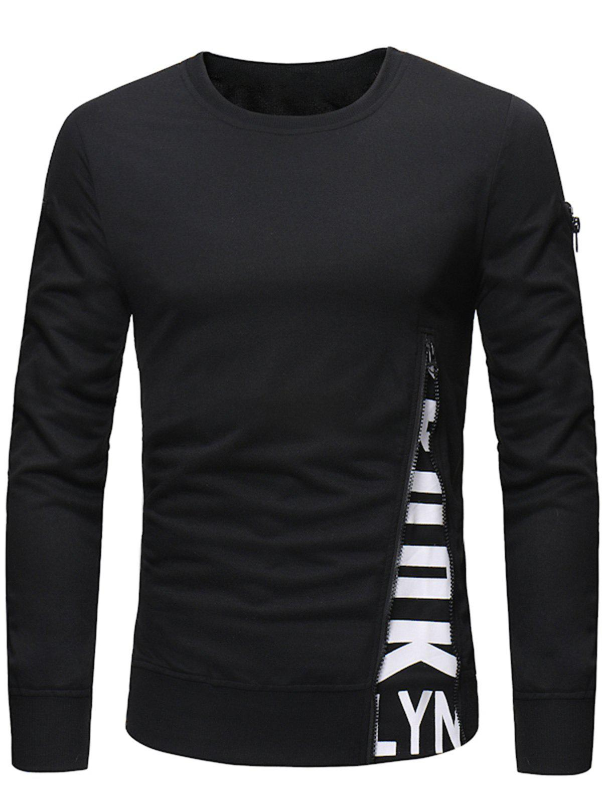 Fashion Pullover Letter Print Zipper Long Sleeves Sweatshirt