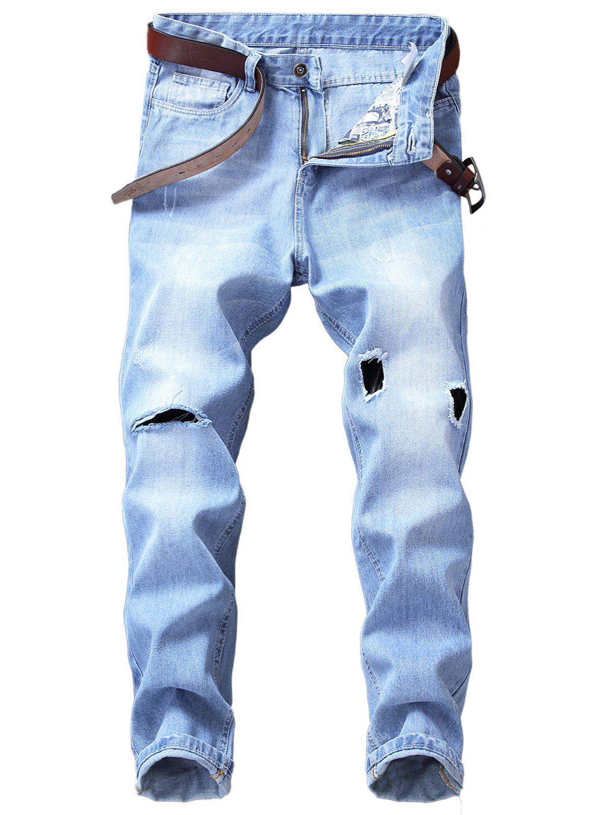 Latest Zip Fly Straight Leg Destroyed Panel Bleached Jeans