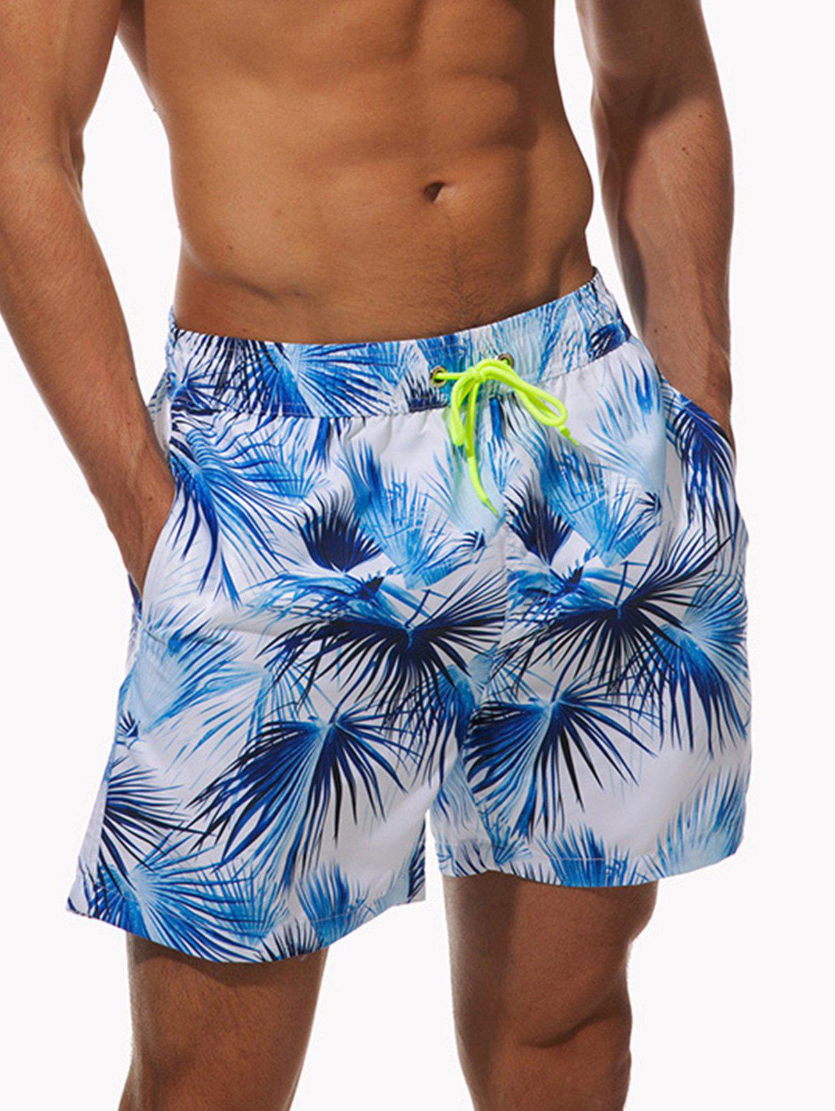 Outfit Pockets Coconut Palm Print Beach Shorts