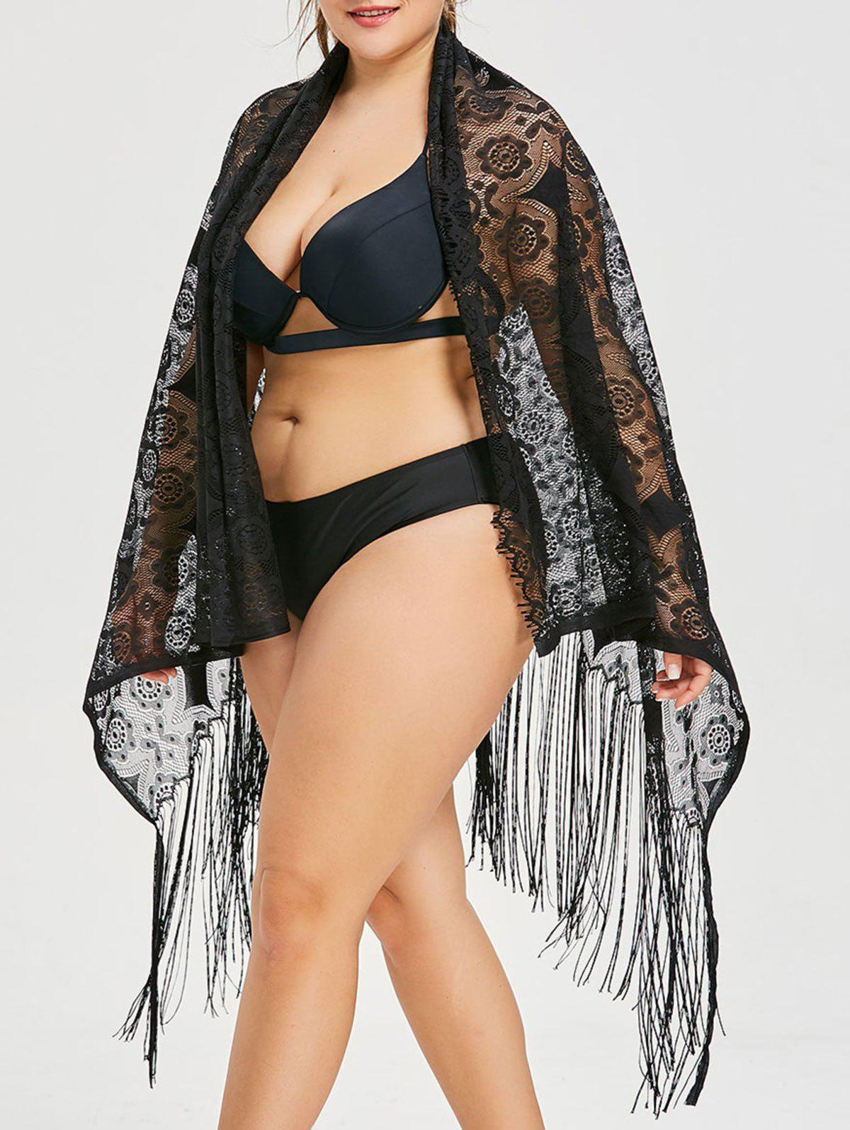 Buy Plus Size Fringed Lace Cover Up