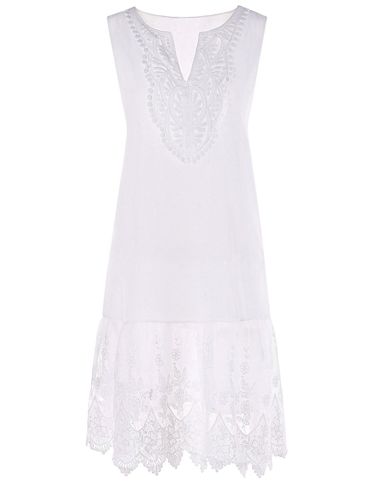 Outfits V Neck Embroidery Flounced Tent Dress