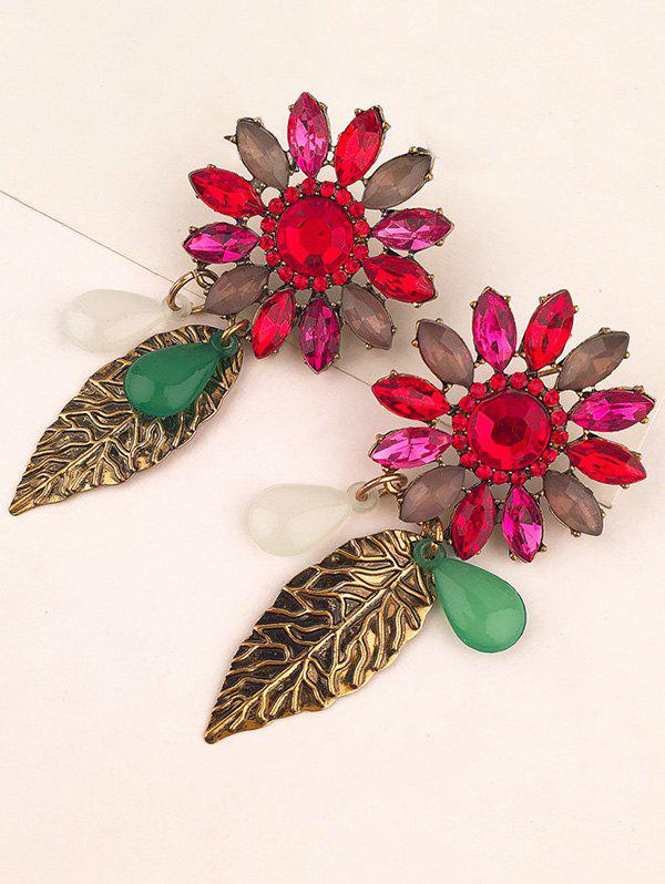 Sale Faux Crystal Flower Leaf Teardrop Earrings