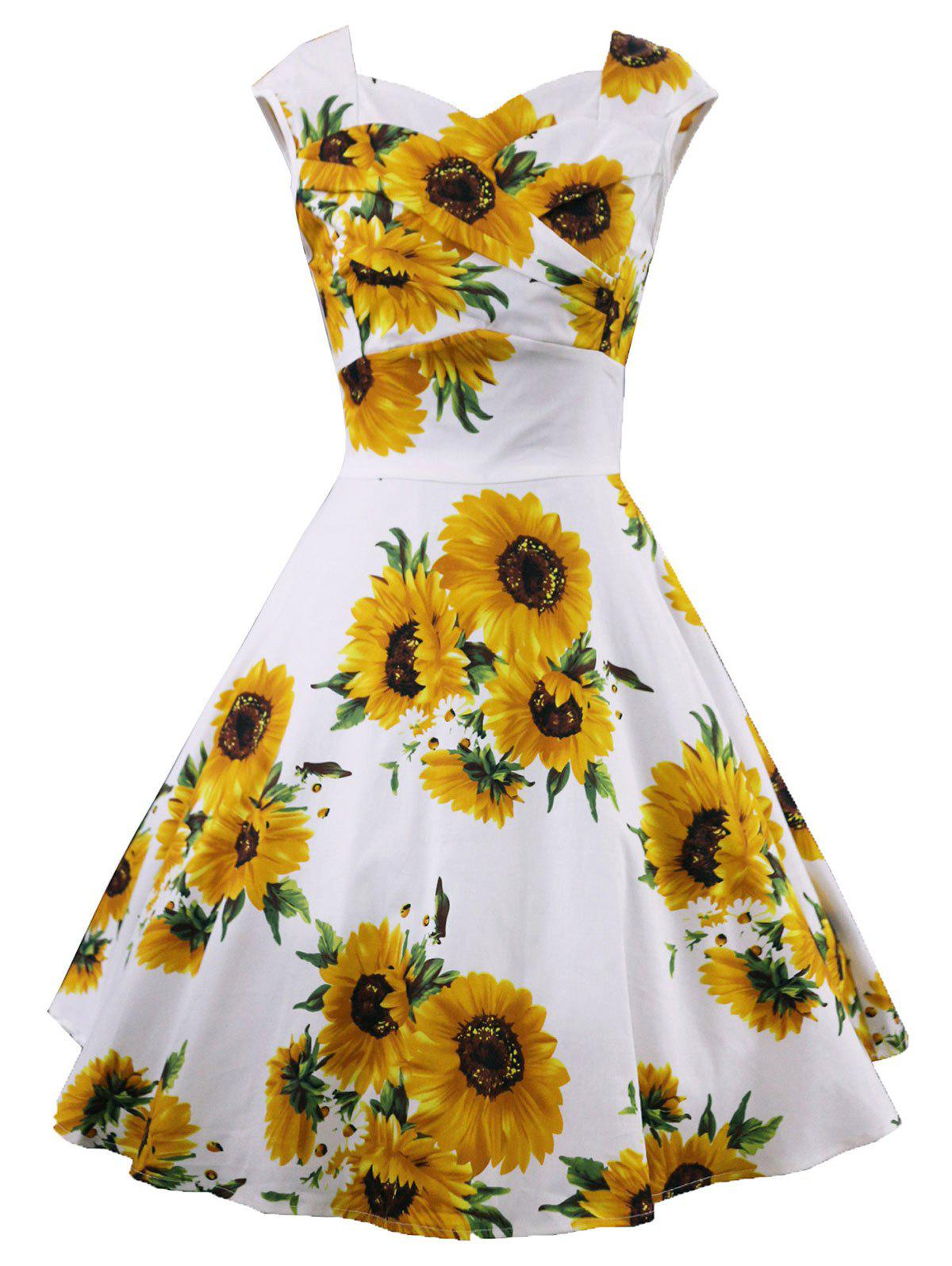 2019 Retro Sunflower Print Ruched Swing Dress Rosegal Com