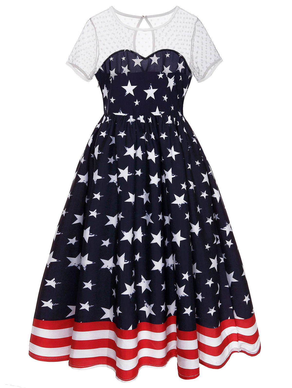 Shops Patriotic American Flag Flare Dress