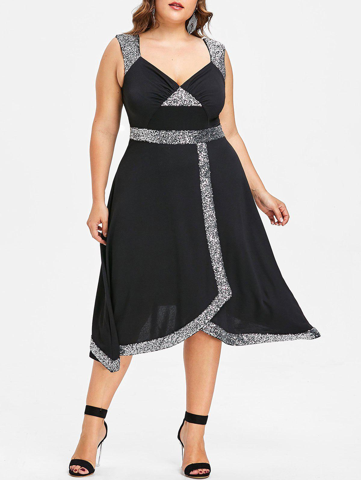 Fancy Plus Size Sequined Trim Sparkly Swing Dress