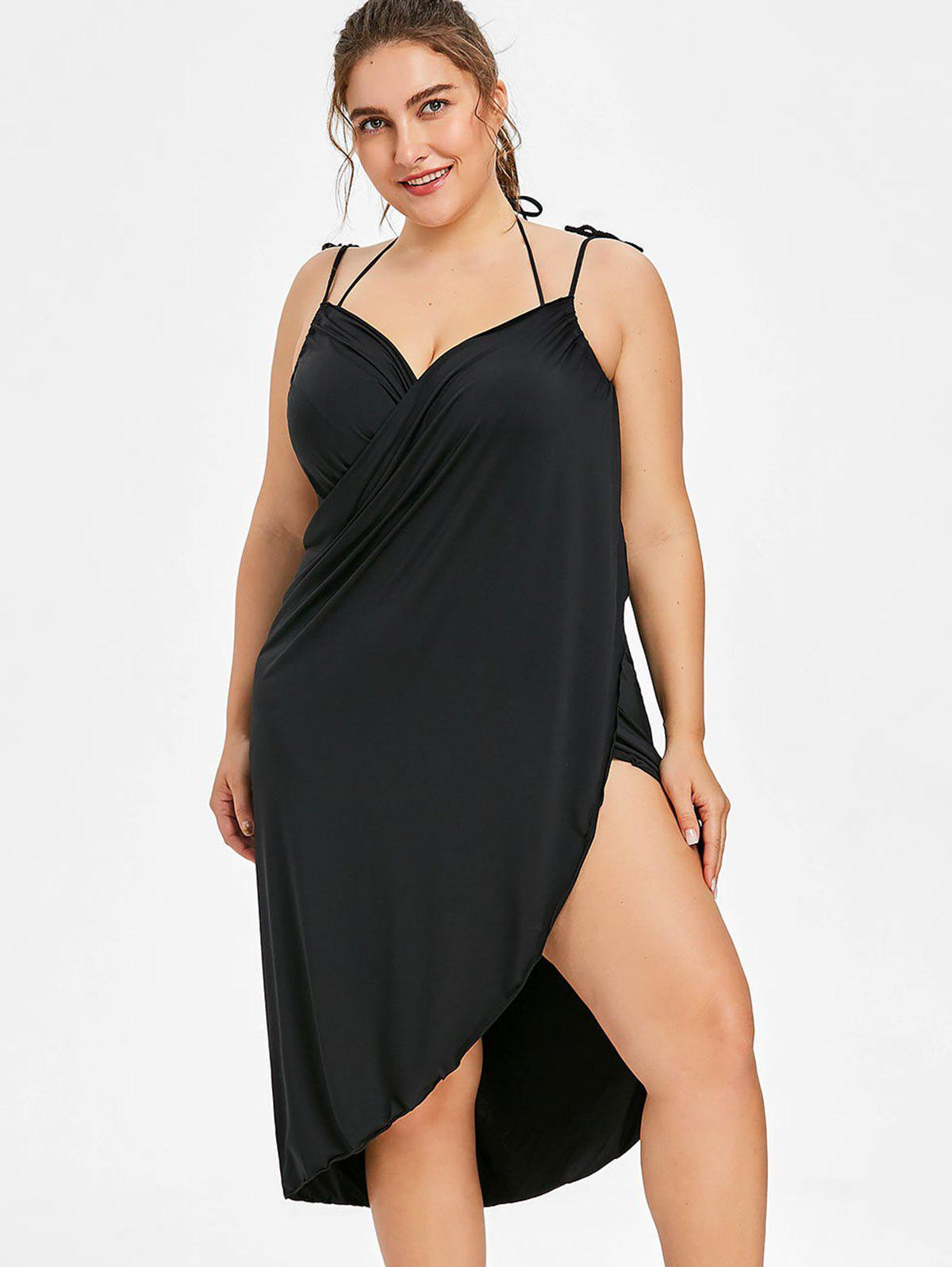 Fancy Semi-sheer Plus Size Wrap Cover Up Dress