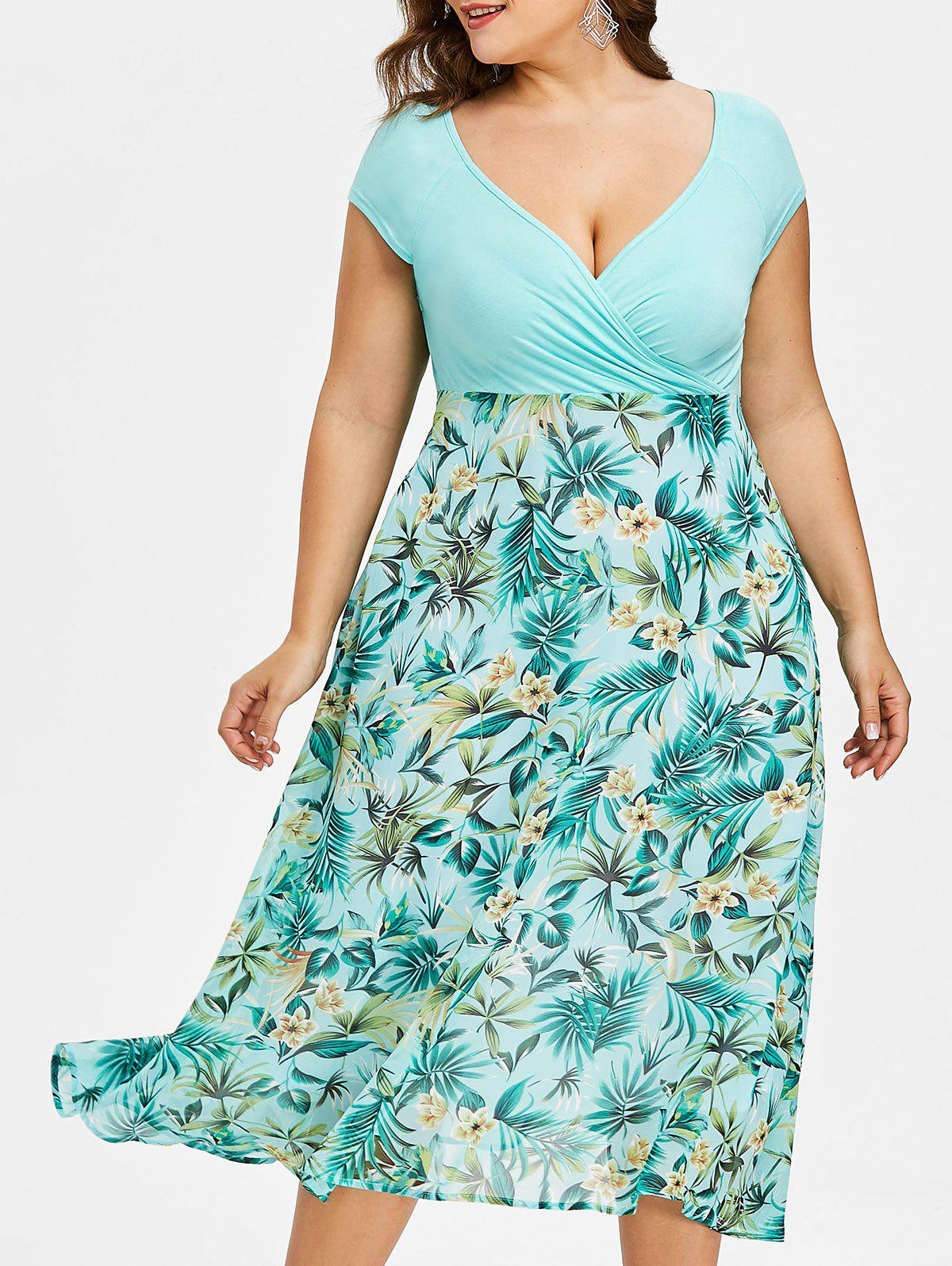 Best Plus Size V-neck Tropical Holiday Dress