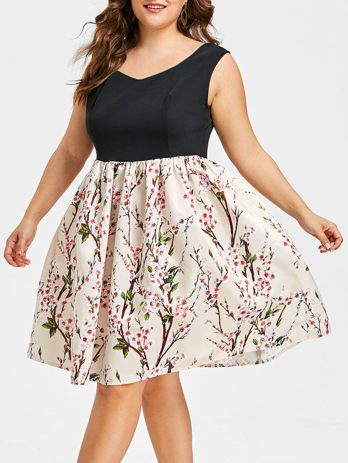 Unique Plus Size Sweetheart Floral Print Dress