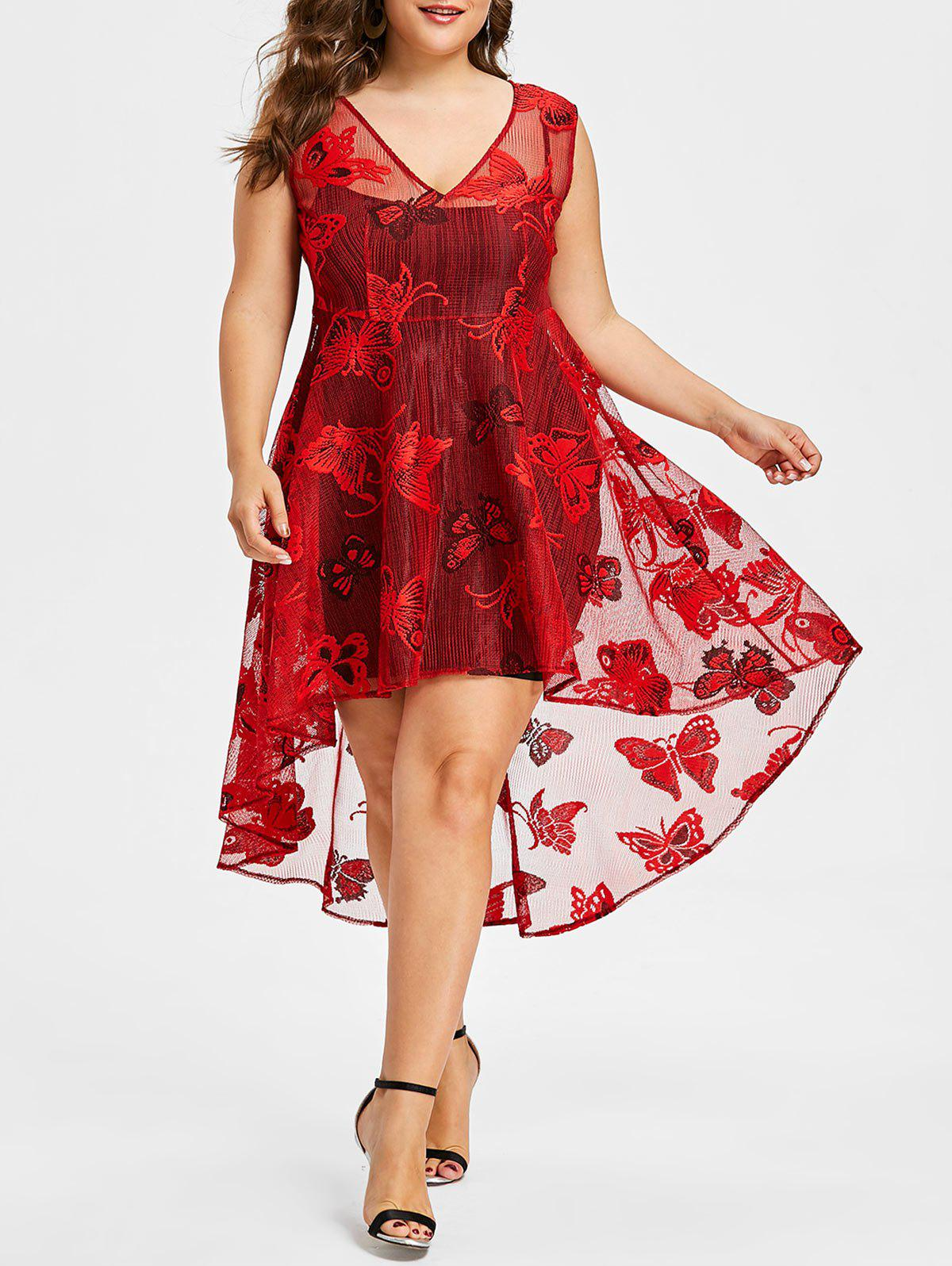 Affordable Plus Size Butterfly Embroidered Dress with Tank Dress