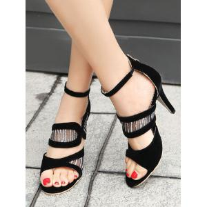 High Heel Zip Back Ankle Strap Lace Sandals -