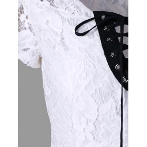 Hollow Out Lace Up Blouse -