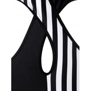Halter Stripe Two Tone Monokini Swimsuit -