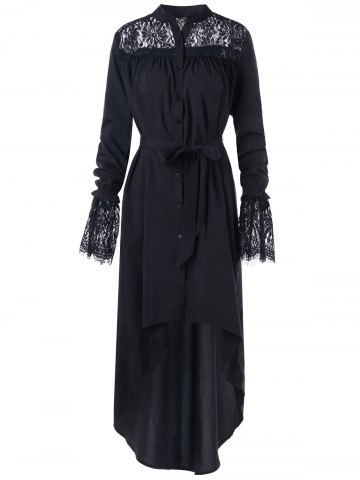 Affordable High Low Lace Panel Long Dress