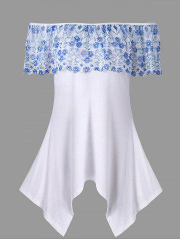 Off The Shoulder Lace Ruffle Handkerchief T-shirt