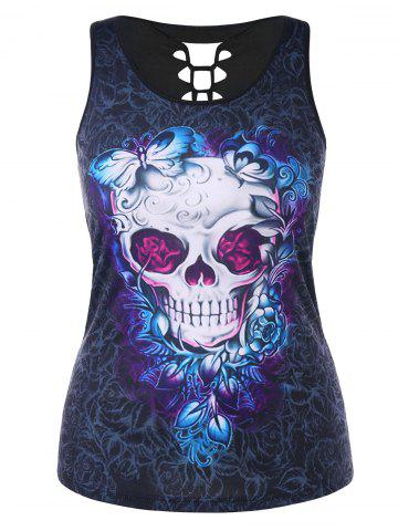 Latest Plus Size Cutout Skull Butterfly Print Summer Top