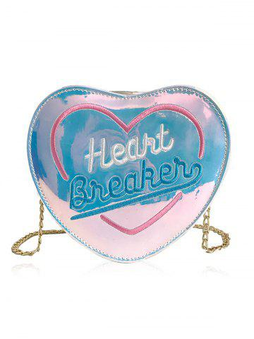Chic Heart Shape Shining Laser Chain Strap Crossbody Bag