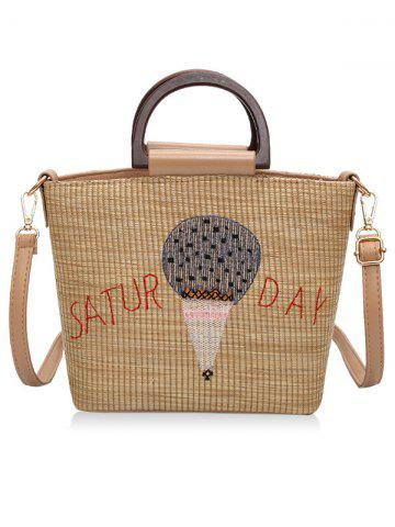 Store Fire Balloon Print Retro Straw Hand Bag with Shoulder Strap