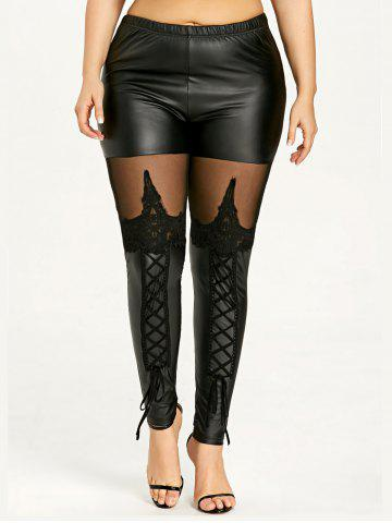 Affordable Plus Size Sheer Lace Up Faux Leather Pants