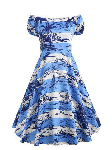 Discount High Waisted Tropical Printed Vintage Dress