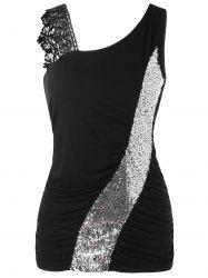 Skew Collar Sequined Fitted Tank Top -