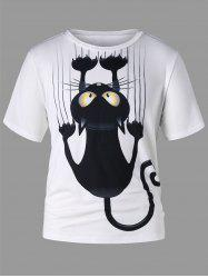 Black Cat Print Short Sleeve T-shirt -