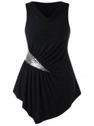 Plus Size Sequined Trim Cowl Neck Tank Top -