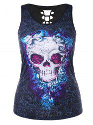 Plus Size Cutout Skull Butterfly Print Summer Top -