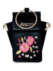Floral PU leather Crossbody Bag with Ring -