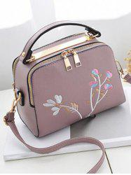 Floral Embroidery Chic Crossbody Bag with Handle -