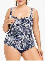 Plus Size Paisley Print Backless Swimsuit -