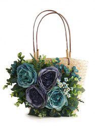 Straw Chic Floral Handbag for Beach -