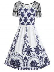 Print Lace Trim Dress -