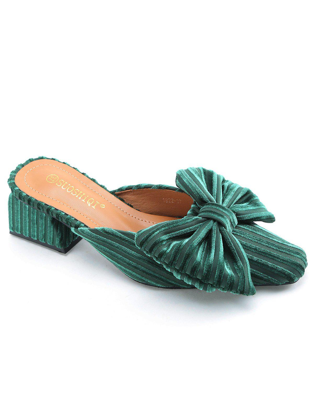 New Bowknot Block Heel Velvet Sandals