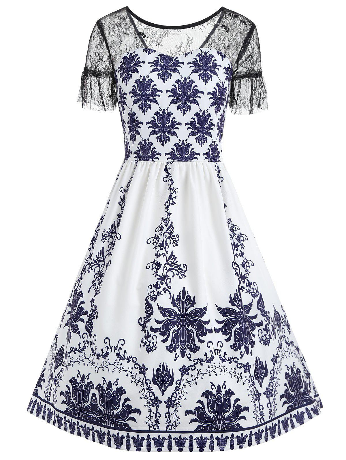 New Print Lace Trim Dress
