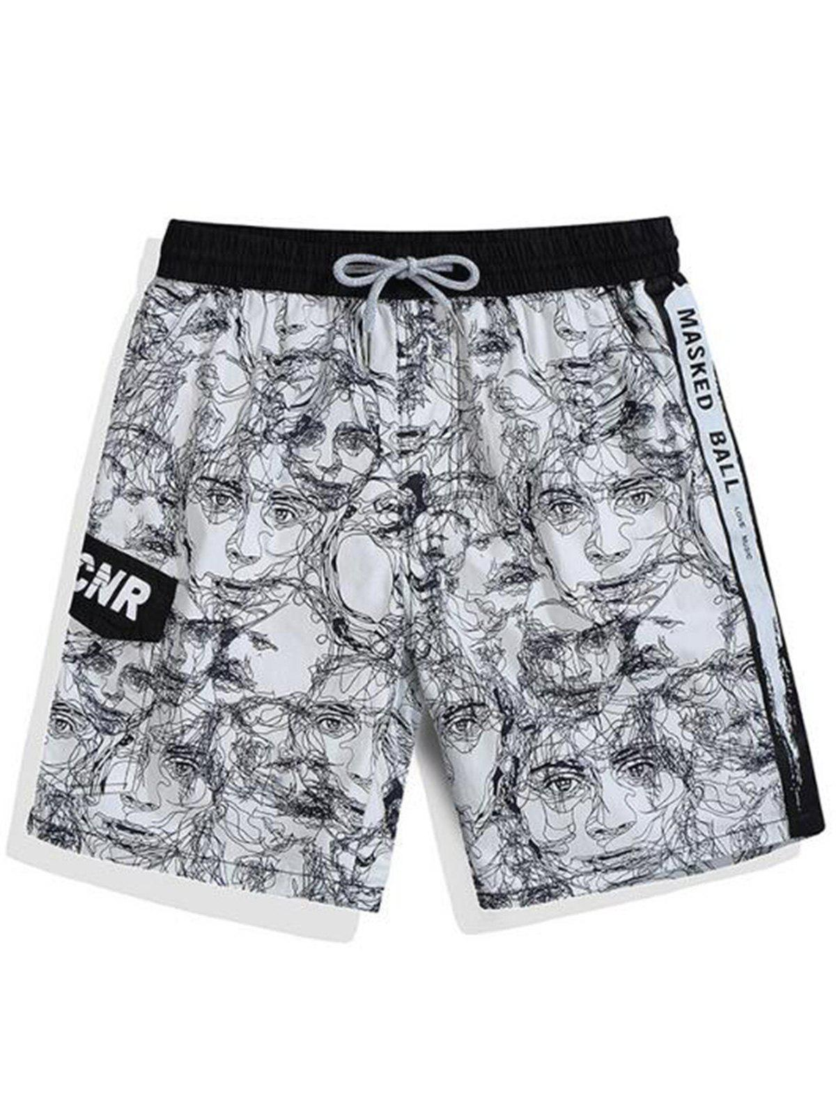Discount Pockets Face Line Drawing Print Hawaiian Shorts