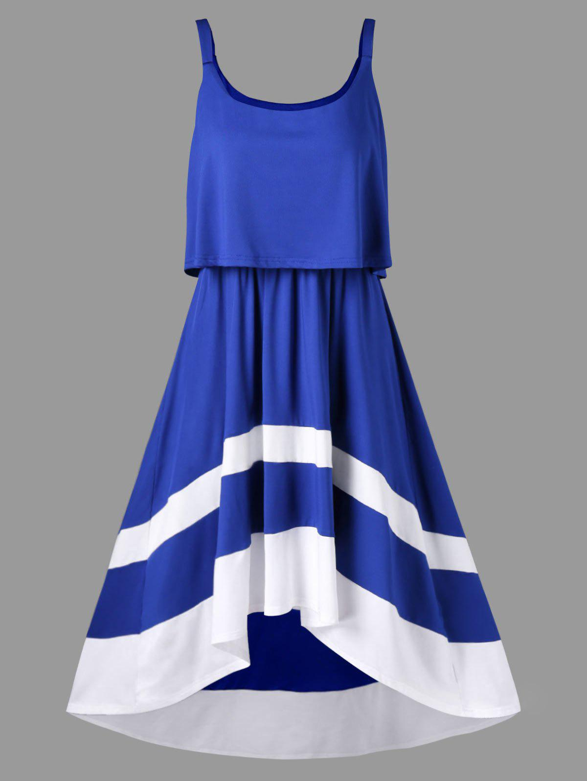 Discount Color Block Swing Overlay Dress