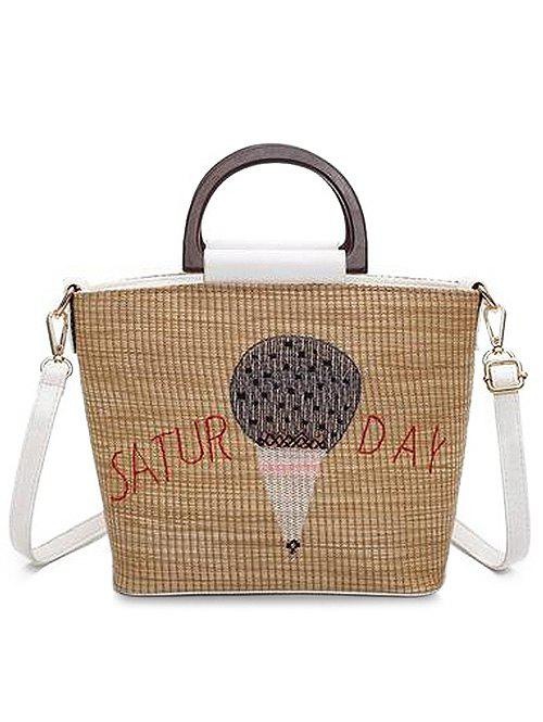 Outfits Fire Balloon Print Retro Straw Hand Bag with Shoulder Strap