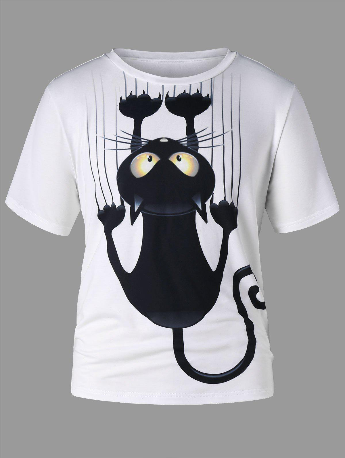 Shops Black Cat Print Short Sleeve T-shirt