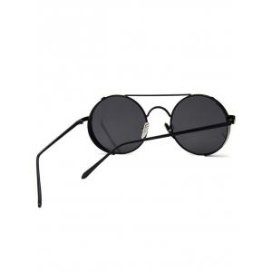 Unique Crossbar Flat Lens Round Sunglasses -
