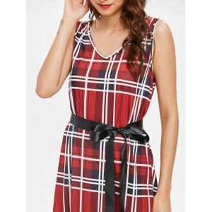 Tartan Back V Shift Dress with Belt -