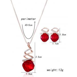 Rhinestone Alloy Necklace with Earring Set -