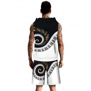 Spiral Piano Key Pattern Hoodies Tank Top and Shorts -