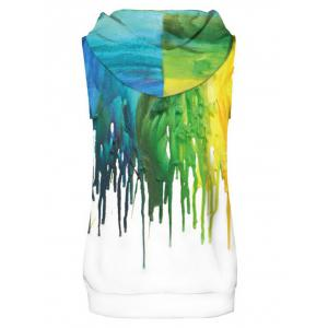 Dropping Paint Printed Sleeveless Hoodies Tank Top and Shorts -