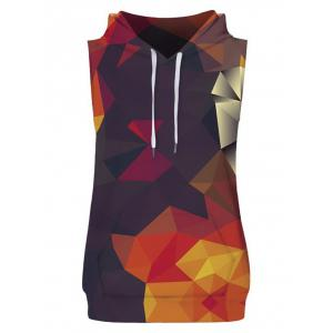 Geometric Figure Print Drawstring Hoodies Tank Top and Shorts -