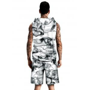 Smoke Printed Drawstring Hoodies Tank Top and Shorts -