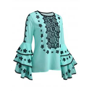 Lace Print Long Sleeve Blouse -