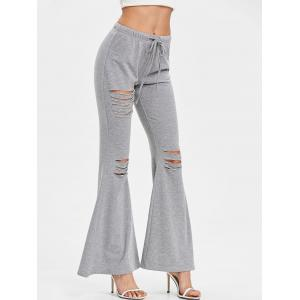 High Waisted Drawstring Ripped Flare Pants -