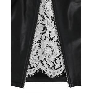 High Waisted Lace Panel Faux Leather Skirt -
